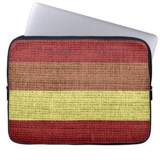 Jute rustique de toile de jute rouge et jaune de trousse pour ordinateur portable
