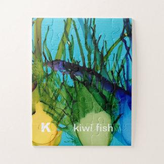 K - Puzzle d'art d'alphabet de poissons de kiwi