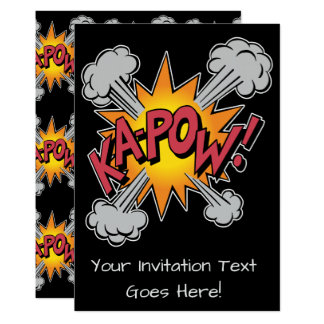KA-POW ! Graphique de bande dessinée Carton D'invitation 12,7 Cm X 17,78 Cm