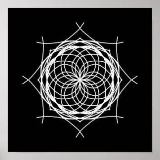 Kaléidoscope blanc noir d'art abstrait posters