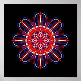 Kaléidoscope blanc rouge d'art abstrait de noir poster