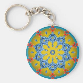 Kaléidoscope bleu et jaune porte-clés