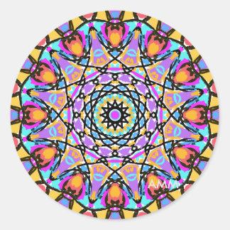 Kaléidoscope de fleur d'amusement sticker rond