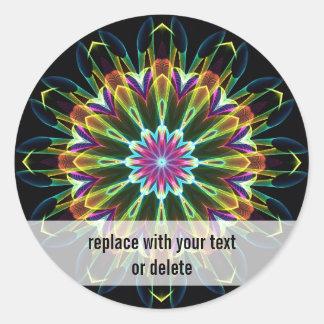 Kaléidoscope de fleur de Trompet Sticker Rond