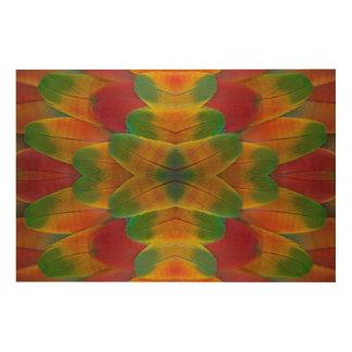 Kaléidoscope de plume de perroquet d'ara impression sur bois