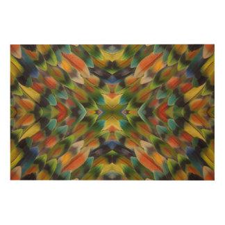 Kaléidoscope de plume de perruche impression sur bois