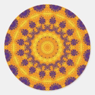 Kaléidoscope majestueux sticker rond
