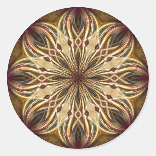 Kaléidoscope marron de Noël Adhésif Rond
