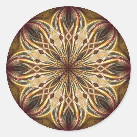 Kaléidoscope marron de Noël Sticker Rond