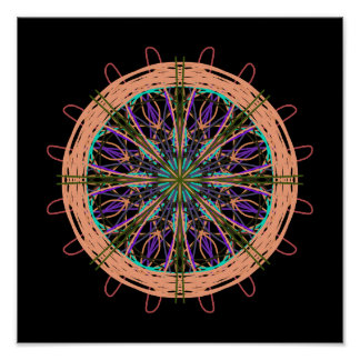 Kaléidoscope noir pourpre rose d'art abstrait poster