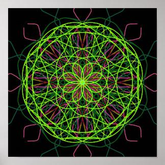 Kaléidoscope noir rose vert d'art abstrait poster