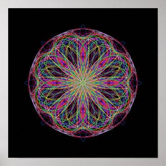 Kaléidoscope noir vert rose d'art abstrait affiches