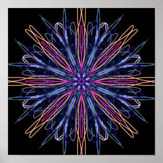 Kaléidoscope pourpre d'art abstrait de noir bleu affiche