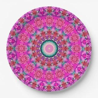Kaléidoscope rose commode d'art de mandala assiettes en papier