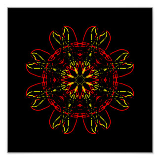 Kaléidoscope rouge d'art abstrait de noir d'or affiche