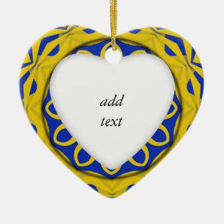 Kali jaune et bleu de K128 Ornement Cœur En Céramique