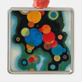 Kandinsky a approfondi l'huile abstraite ornement carré argenté