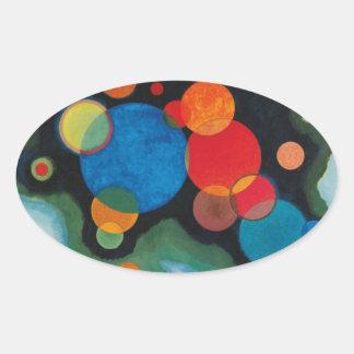 Kandinsky a approfondi l'huile abstraite sticker ovale