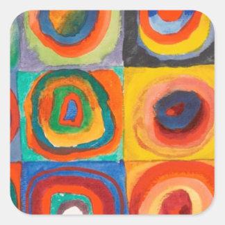 Kandinsky ajuste les cercles concentriques sticker carré