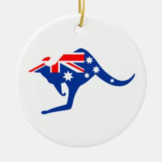 Kangourou australien ornement rond en céramique