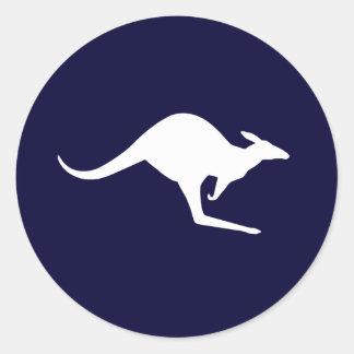 Kangourou australien (paquet de 6/20) sticker rond