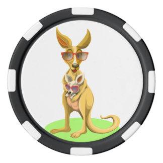 Kangourou avec des verres rouleau de jetons de poker