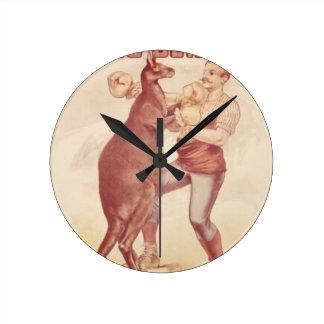Kangourou de boxe horloge ronde