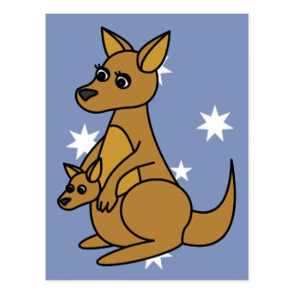 Kangourou et Joey mignons Carte Postale