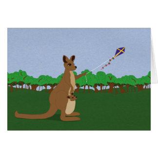 Kangourous de bande dessinée pilotant un carte de vœux