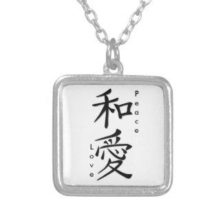 Kanji de Japonais d'amour de paix Collier