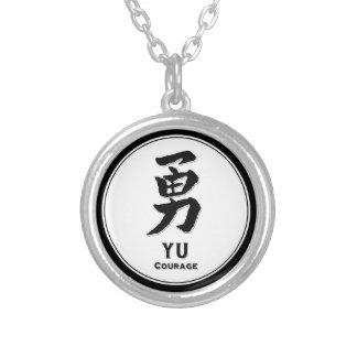 Kanji de samouraïs de vertu de bushido de courage pendentif rond