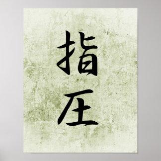 Kanji japonais pour Accupressure - Shiatsu Poster
