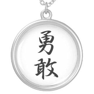 Kanji japonais pour la bravoure - Yuukan Pendentif Rond