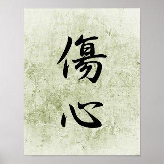 Kanji japonais pour le coeur brisé - Shoushin Affiche
