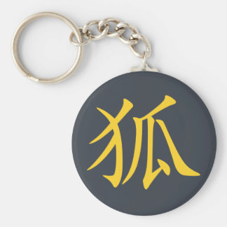 Kanji Kitsune (Fox) Porte-clé Rond