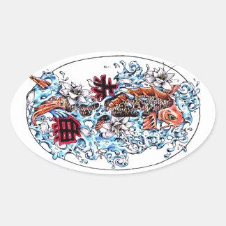 Kanji oriental frais de poissons de carpe de Koi Sticker Ovale