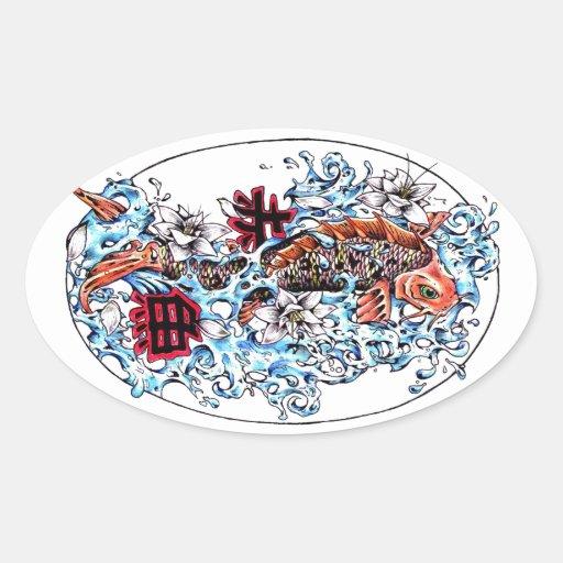 Kanji oriental frais de poissons de carpe de Koi d Autocollant