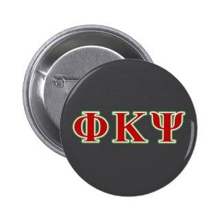 Kappa lettres rouges et vertes de livre par pouce badges