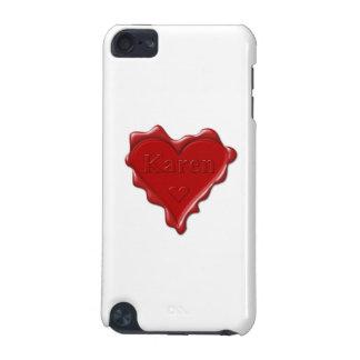 Karen. Joint rouge de cire de coeur avec Karen Coque iPod Touch 5G