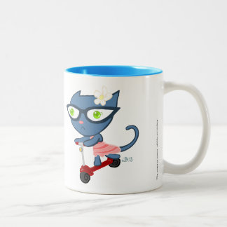 Kats avec Glassez : Tasse bleue de scooter de