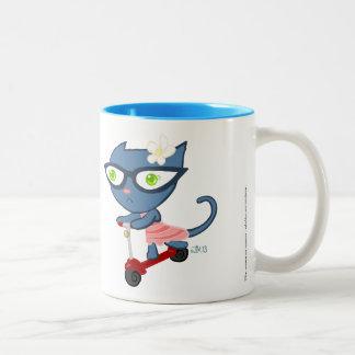 Kats avec Glassez : Tasse bleue de scooter de Kitt