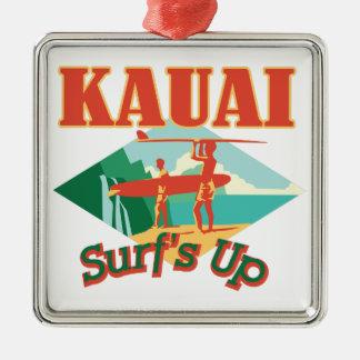 Kauai surfe ornement carré argenté