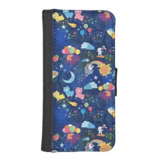 Kawaii cosmique coques avec portefeuille pour iPhone 5