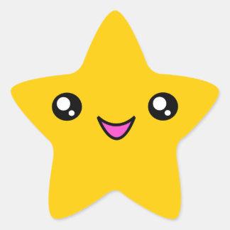 Kawaii font face à l'autocollant d'étoile d'or sticker étoile