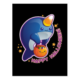 Kawaii Halloween Narwhal Carte Postale