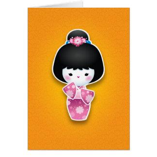 Kawaii Kokeshi (rose) Cartes De Vœux