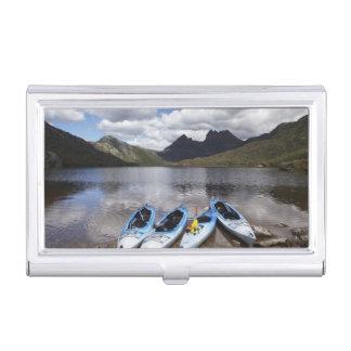 Kayaks, montagne de berceau et lac dove, berceau étui pour cartes de visite