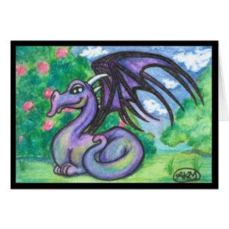 Keely : Carte de voeux pourpre de dragon (blanc)