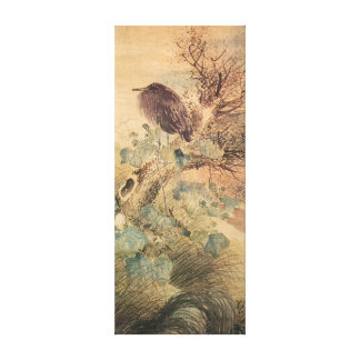 Ketmie de Matsumura Goshun et héron bleu sur un Toiles