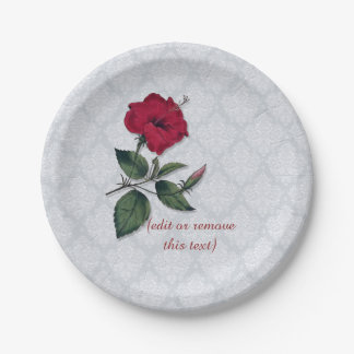 Ketmie rouge et dentelle blanche, arrière - plan assiettes en papier